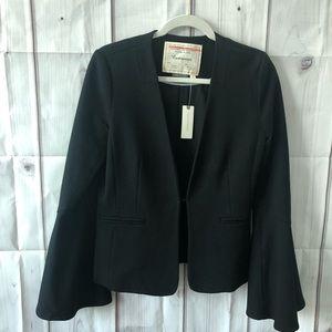 {Antropology} Black Flounce-Sleeved Jacket